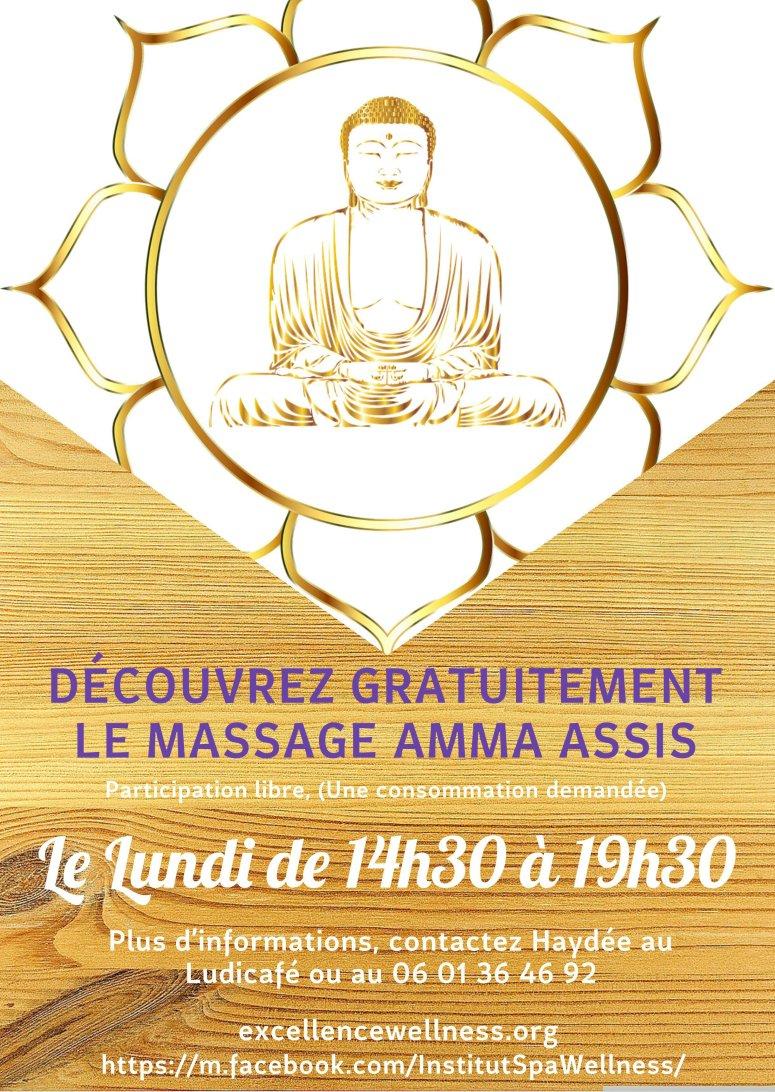 Massage bien-être Amma assis au Ludicafé de St Jean de Luz.