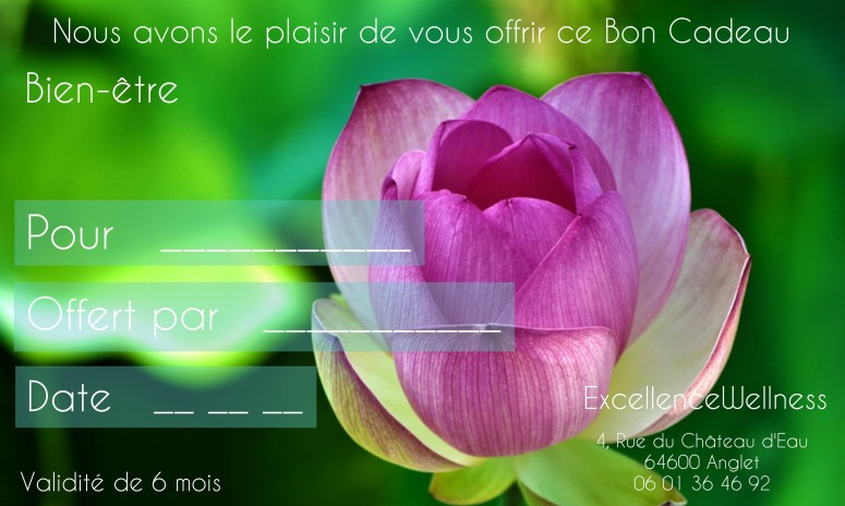 Bon Cadeau Massage Bayonne, Massage Bayonne ExcellenceWellness Spa Massage Bayonne Bien-être et Beauté Bio Bayonne Anglet Biarritz.Soin du Corps et soin du visage